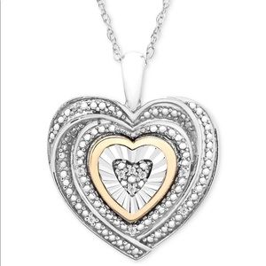 Offer♥️ necklace diamond accent 2toned 10 carat/ss